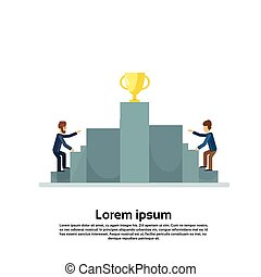 Business Man Climb Podium Golden Cup Competition Concept