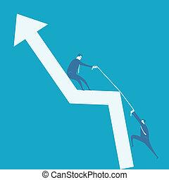 Business man climb positive graph
