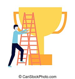 business man climb stairs and trophy