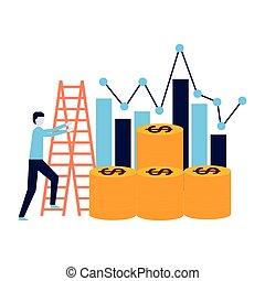 business man climb stairs coins chart