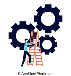 business man climb stairs gears work