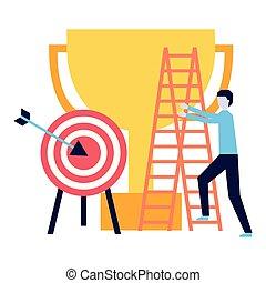 business man climb staris and target