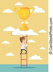 business man climb to trophy over clouds