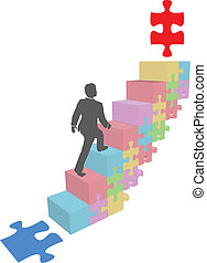Business man climb up puzzle steps