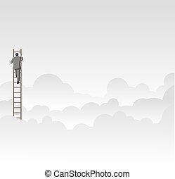 Business man climbing high ladder