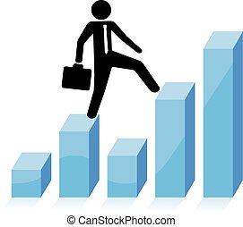 business man climbs graph bars