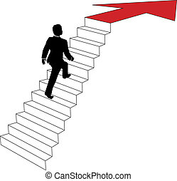 Business man climbs up arrow stairs
