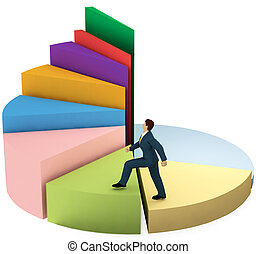 Business man climbs up growth pie chart stairs - A business...
