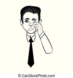 business man comic outline