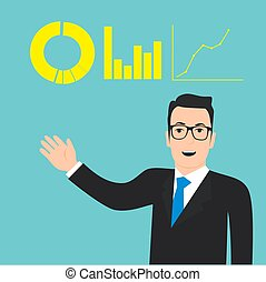 Business Man Concept Flat Presentation Vector