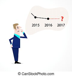 Business man confused stock market arrow.Sad businessman with graph indicating a regression. The concept of business failure, bankruptcy.