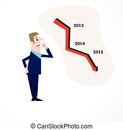 Business man confused stock market arrow.Sad businessman with graph indicating a regression.
