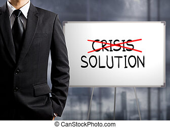 cross crisis and find solution - Business man cross crisis ...