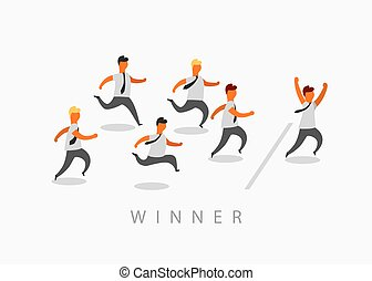 Business man crossing finish line finishing first in a market race. Entrepreneur businessman leader.