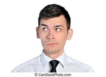 Business man curious face