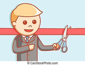 Business man cuting ribbon  illustr