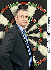 business man dartboard