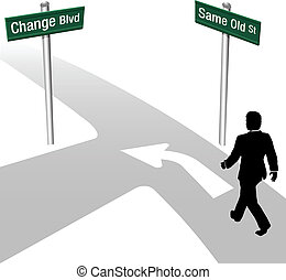 Business Man Decide Same or Change - Business person...