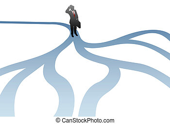 Business man decision choose paths confusion - A business...