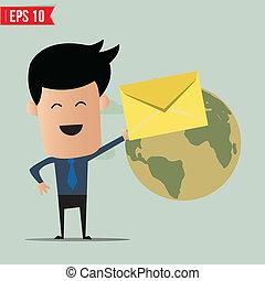 Business man deliver envelope
