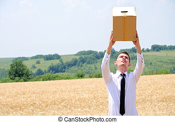 Business Man delivering box