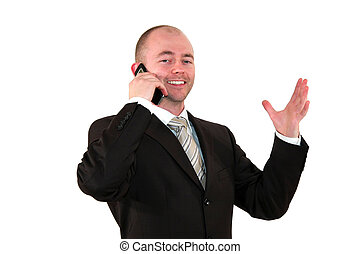 business man discussing on cell phone