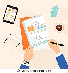 Business man document signing up contract agreement, Businessman workplace top angle above view sitting at office desk work