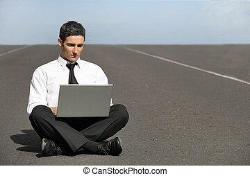 business man doing computer