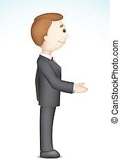 Business Man doing Handshake - illustration of confident 3d...