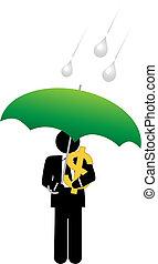 Business man dollar money safe under umbrella