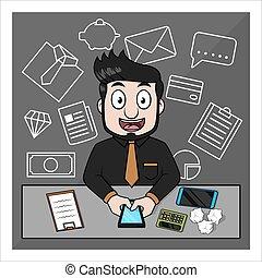 Business man doodle background
