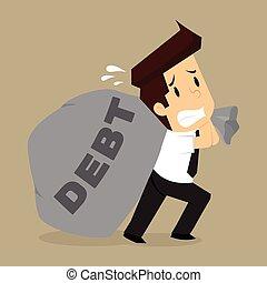 business man dragged bags debt