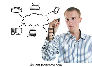 business man draw cloud computing chart on glass isolated...