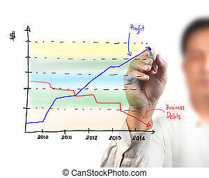 business man drawing a graph on a glass window in an office - focus is on graph