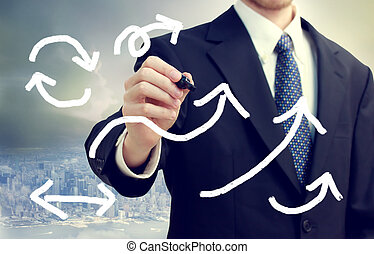 Business Man Drawing Arrows