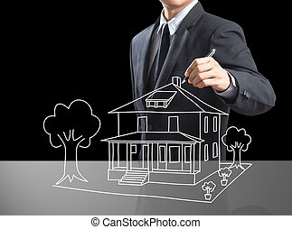 Business man drawing dream house