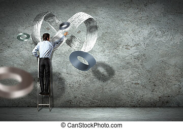 Business man drawing infinity sign - Image of businessman...