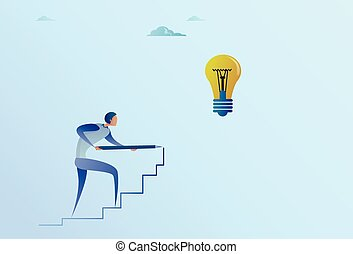 Business Man Drawing On Stairs Up To Light Bulb New Idea For Startup Concept