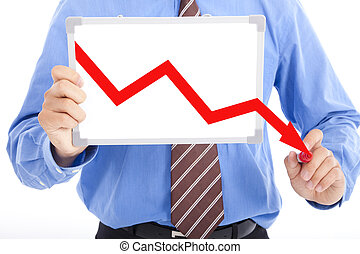 business man drawing red down graph on the whiteboard