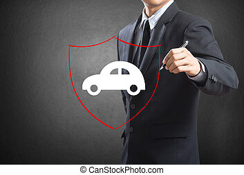Business man drawing shield protecting auto car, insurance concept
