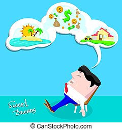 Business man dreaming. cartoon illustration