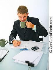 Business Man Drinking Coffee