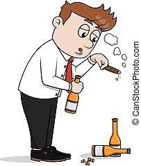 Business man drunk  illustration