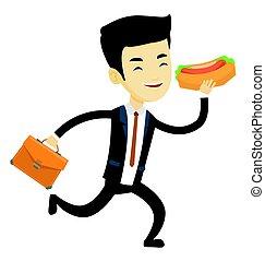 Business man eating hot dog vector illustration.