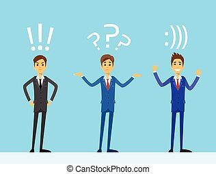 business man emotions set with exclamation, question mark and smiley bracket internet web chat sign