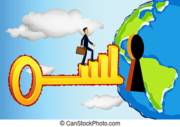 Business Man Entering Profitable World - illustration of...