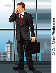 Business Man - Vector illustration of a business man in a...