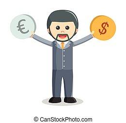 Business man euro dollar