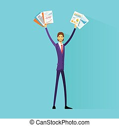 Business man excited hold hands up raised arms with paper documents, happy smile businessman flat