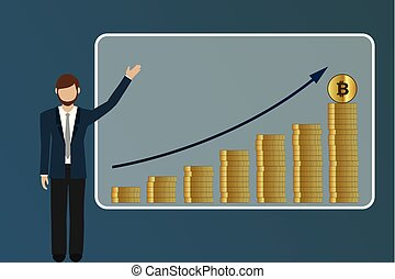 business man explains sales rising bitcoin market